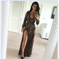 Fashion Women Sexy Deep V Neck Long Sleeves Side Split Leopard Print Cotton Polyester Blend Floor