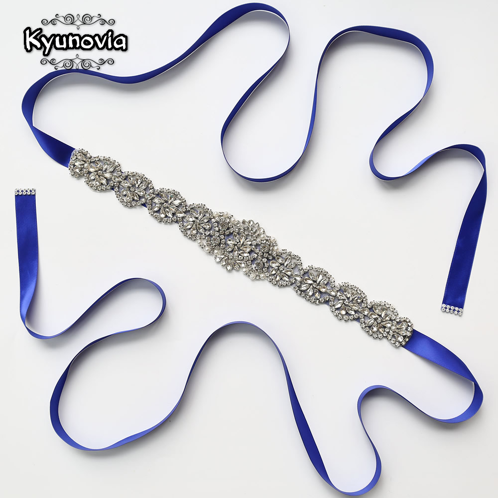 Kyunovia Crystal Bridal Sash Wedding Dress Belt 21 Ribbon Color Blue White Silver Rhinestone Belts Evening Dress Sash Belts D14
