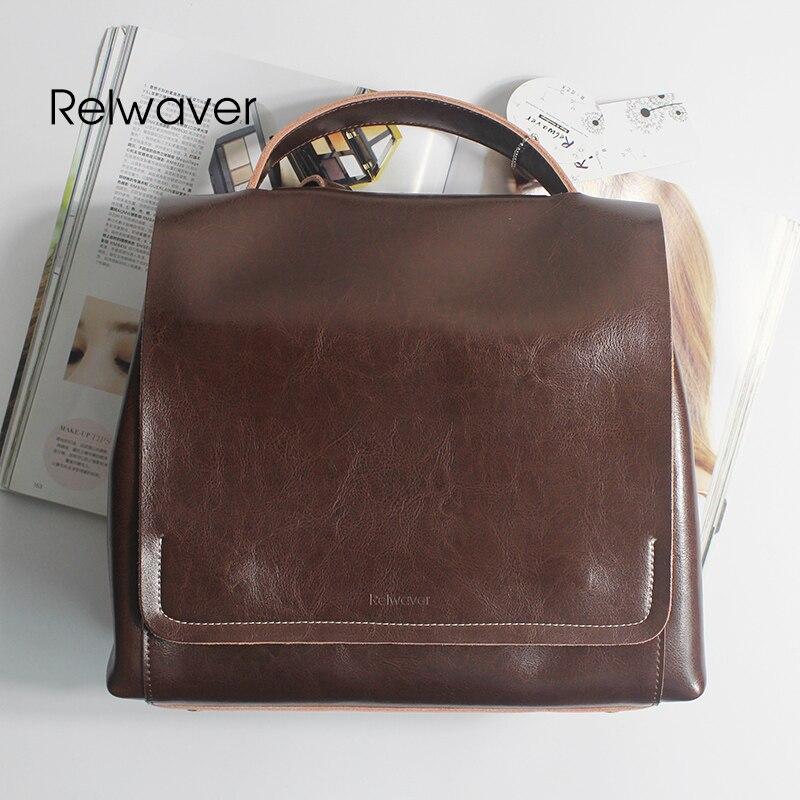 Mode Leder Taschen Weibliche Frauen Tasche Preppy Soft Rindsleder Schule Kaffee Rucksack Stil Vintage Relwaver w86qUw