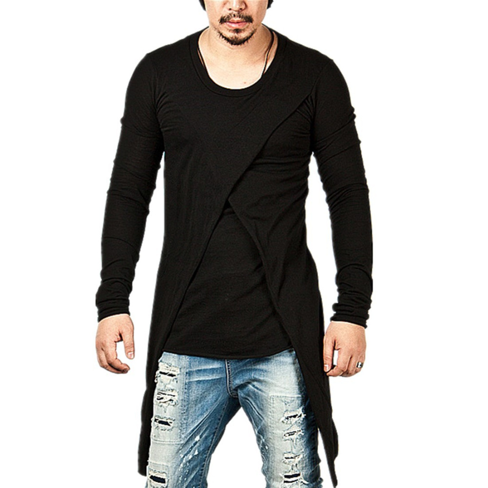 Lasperal2017 brand new clothing mens black long t shirt for Men s t shirt top brands