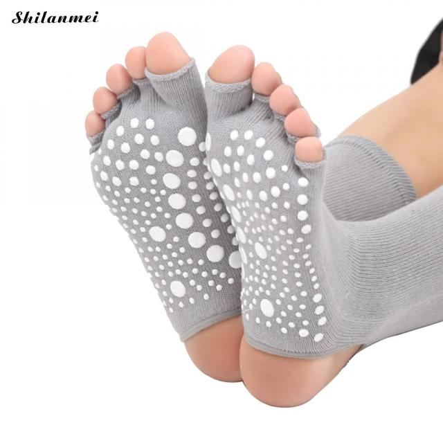 94762659a1f Breathable Dispensing Dot Women Yoga Socks Half Toe Non Slip Ladies Massage  Length Sport Socks Half-Fingers Cotton Warm Exercise
