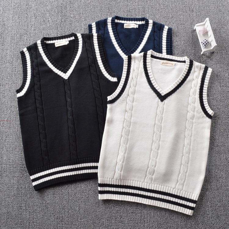 British Preppy School Girl Sleeveless Sweater Vest School Uniforms V-neck Japanese Boys And Girls Students Korean Knitted Vest