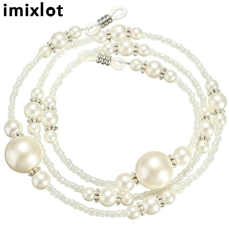 Modes balts imitācijas pērļu dizaina brilles ķēdes acu aizsargu auklas nolasīšanas stikla kakla siksnas acu stikla turētāju piederumi