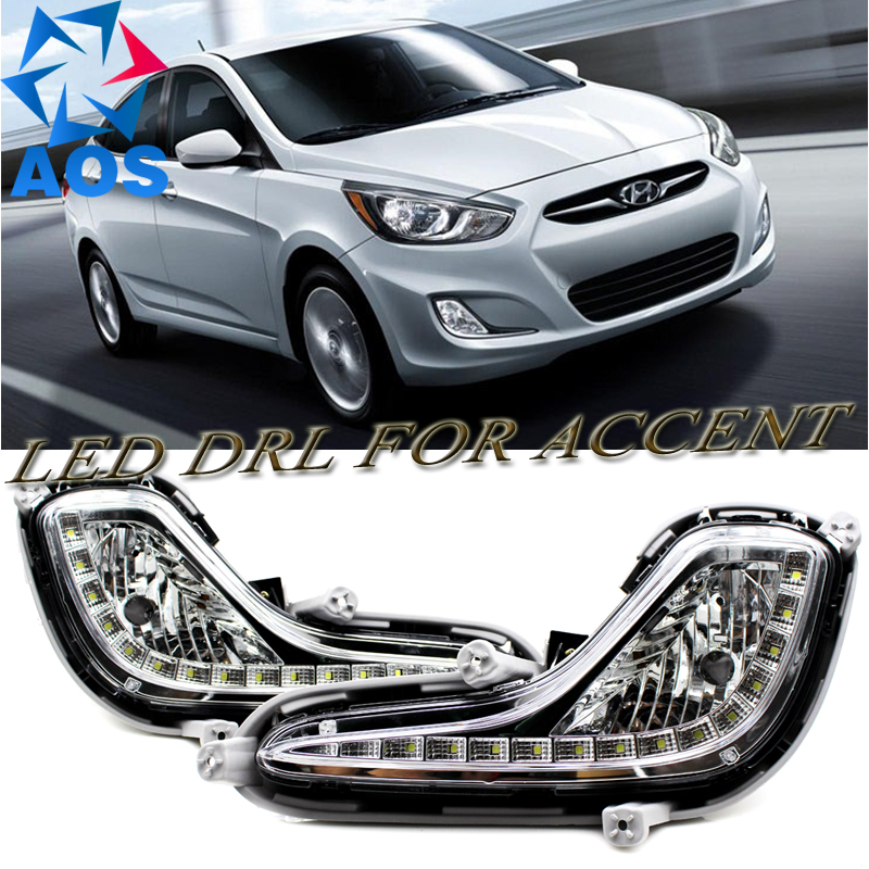 2PCs/set car styling LED Car DRL Daytime Running Lights car drl light set for Hyundai Accent  2010 2011 2012 2013 2014 car styling front lamp for t oyota for tuner 2012 2013 daytime running lights drl