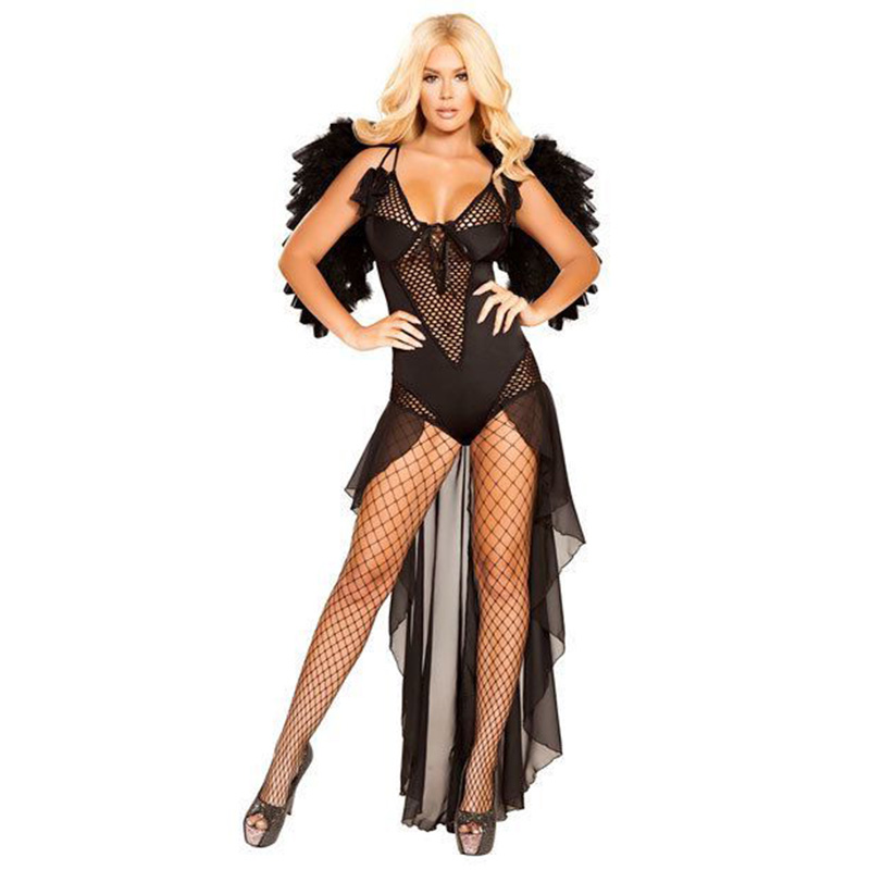 Sexy Black Angel Costumes Dress with Wings Adult Women Halloween Fantasia Witch Cosplay Carnival Fancy Party Dress Up Outfit