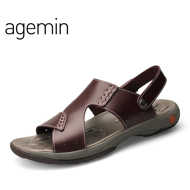 Agemin 2018 Classic Mannen Sandalen Comfortabele Mannen Zomer - Men's Shoes - Photo 2