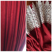 European style retro suede fabric rod pocket window red lace curtain shade curtain window mantle bedroom window free shipping LQ
