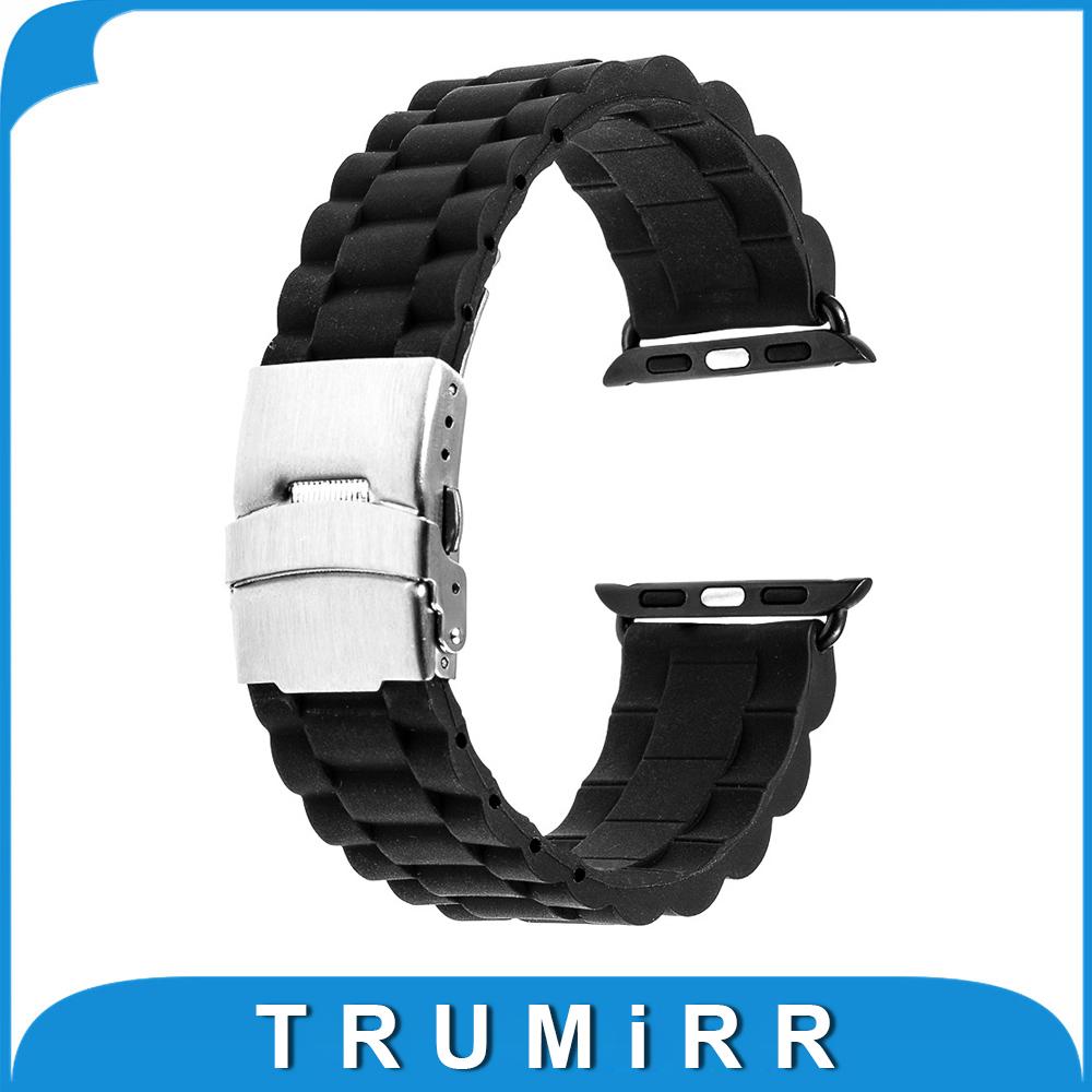 Prix pour 22mm 24mm Bande De Caoutchouc De Silicone pour 38mm 42mm iWatch Apple Watch Sport Édition En Acier Inoxydable Boucle Sangle Bracelet avec Adaptateur