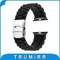 22mm 24mm faixa de borracha de silicone para 38mm 42mm iwatch apple watch esporte edição fivela de cinta de aço inoxidável pulseira com adaptador