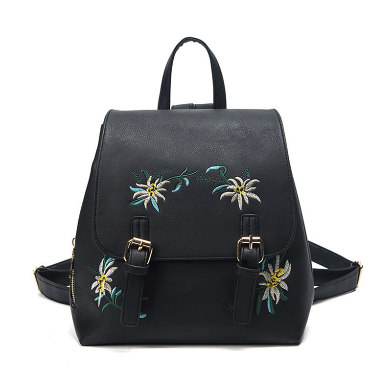 Female Backpacks Womens Leather Embroidery Flowers School Bag Travel Backpack Proxy Purc ...