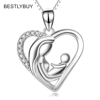 BESTLYBUY 925 Sterling Silver Heart Necklace Mother and Child Pendant Necklace Jewelry Birthday Gifts for Mother Mama Mom