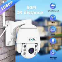 Caméra d'extérieur sans fil Zoohi PTZ caméra IP bidirectionnelle Audio 1080 p dôme rotatif caméras de sécurité CCTV WIFI 2MP IR