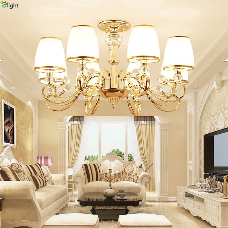 Modern Lustre Gold Metal Led Chandelier Lighting Crystal Glass Dining Room Led Pendant Chandeliers Light Bedroom Hanging Lights цена