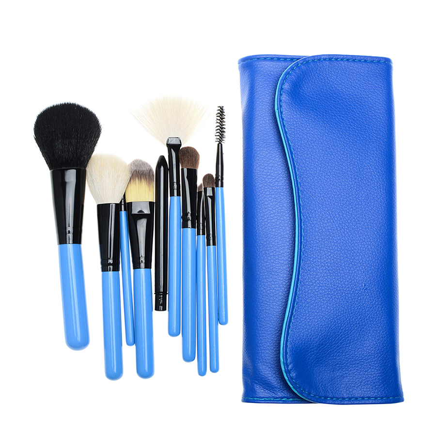 Portable Travel 10 pcs Goat Hair Makeup Brush Set Cosmetic Brush Kit Powder Foundation Large Eyeshadow Make up Brush Set new lcbox professional 16 pcs makeup brush set kit pouch bag cosmetic brush kit cosmetic powder foundation eyeshadow brush tools