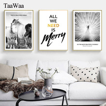 TAAWAA Black and White Horse Animals Poster Prints Nordic Canvas Painting Simple Quote Wall Picture for Living Room Home Decor