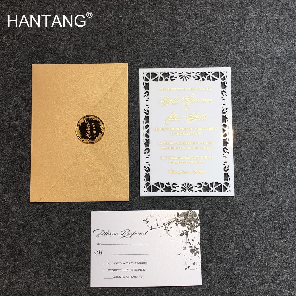 Pure Luxury 5X7inch White Acrylic Wedding Invitation Card 100 Sets Per Lot 1 design laser cut white elegant pattern west cowboy style vintage wedding invitations card kit blank paper printing invitation