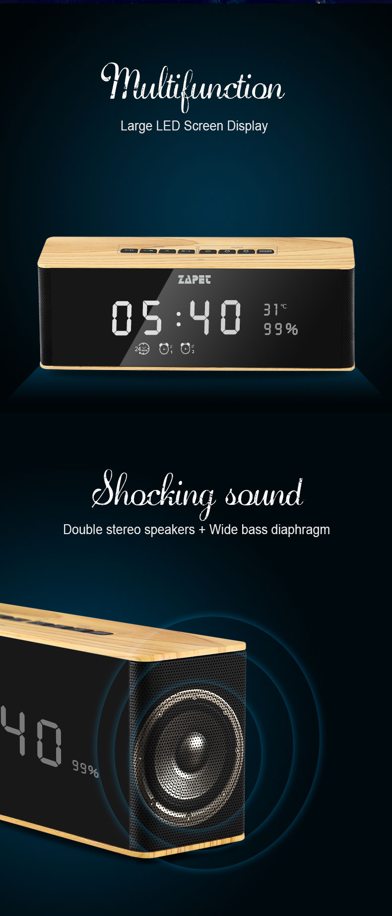 Stereo Music Soundbox Speakers Wireless Portable Bluetooth Speaker with LED Time Display Clock Alarm Loudspeaker with MIC FM