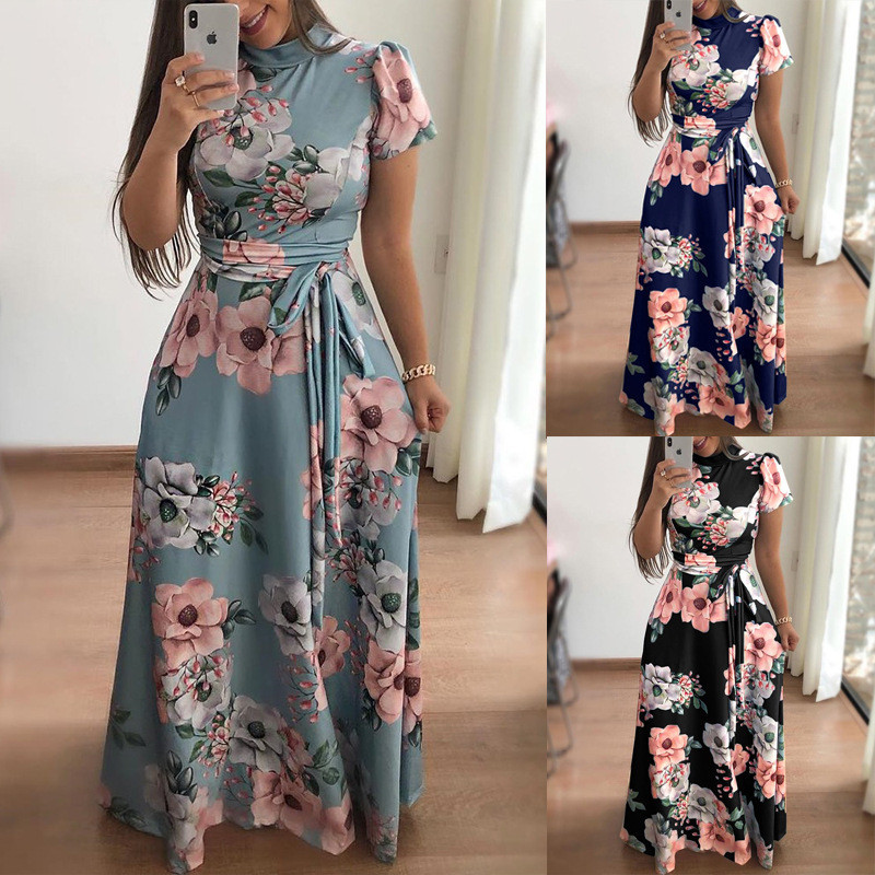 Women Long Maxi Dress 19 Summer Floral Print Boho Style Beach Dress Casual Short Sleeve Bandage Party Dress Vestidos Plus Size 7
