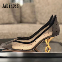 Jady Rose Strange Heel Mesh Women Pumps Pointed Toe 6CM High Heels Dress Shoes Woman Sexy Stiletto Ladies Shoes Zapatos Mujer