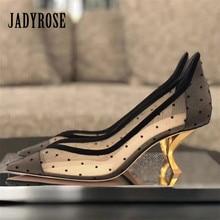 Jady Rose Strange Heel Mesh Women Pumps Pointed Toe 6CM High Heels