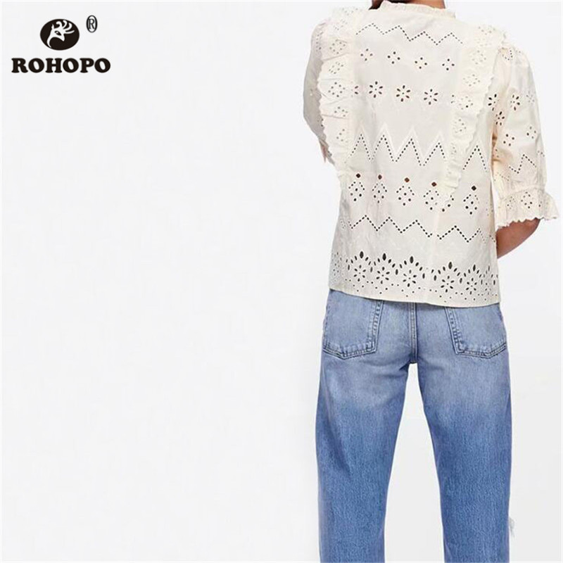 ROHOPO Women Chic Preppy Long Sleeve Cotton Blouse Butterfly Sleeve Lace Embroidery Ruffles Beige Female Top Shirt UK9308 in Blouses amp Shirts from Women 39 s Clothing