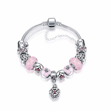 2016 New Trendy Elegant Flower-shaped pendant Pink glass beads Silver Plated Bracelets&Bangles Jewelry Antique for Gift Pulseras