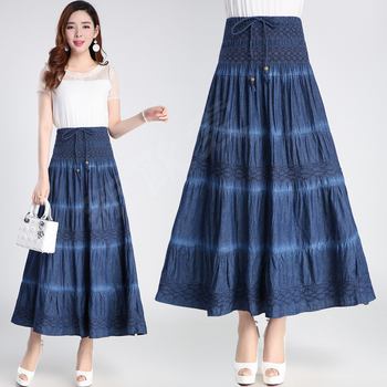Free Shipping 2018 New Fashion Long Maxi A-line Skirts Women High Waist Summer And Autumn Denim Jeans Lace-up Skirts Spring L-XL free shipping 2020 new fashion wool elegant long mid calf women skirts pencil s xl high waist autumn and winter striped skirts
