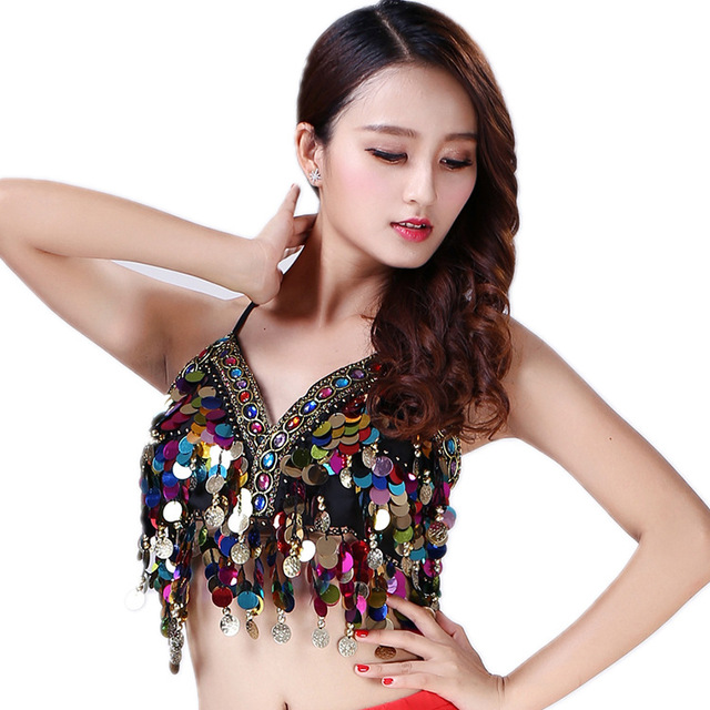 f923a1cee0 Sexy Women Sequin Halter Bra Top Salsa Belly Dance Boho Festival Club  Tribal Top Colorful Beading Coins Tassel Lace-Up Cami Top