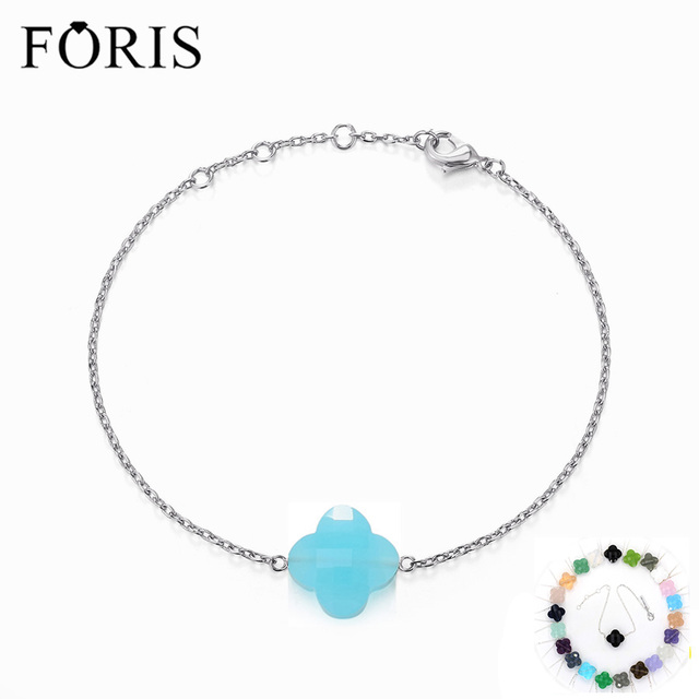 FORIS 11 Colors Brand Jewelry Crystal 925 Sterling Silver Bracelets For Women Christmas Gift  PB002