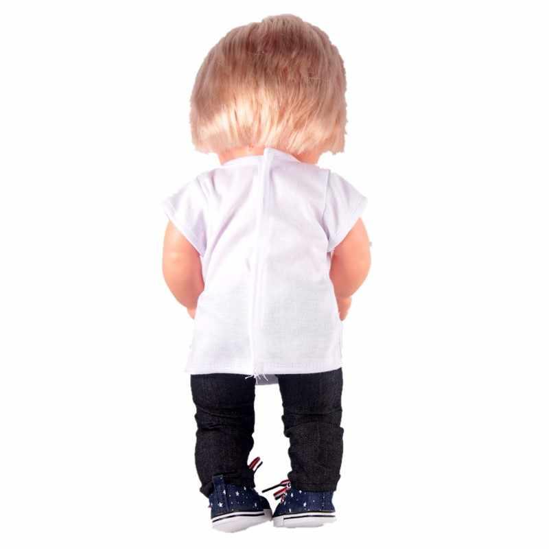 Trajes deportivos de viaje para 42 cm/16 pulgadas Nenuco y su camiseta para muñecas de bebé hermanos pantalones vaqueros con zapatillas maleta rosa