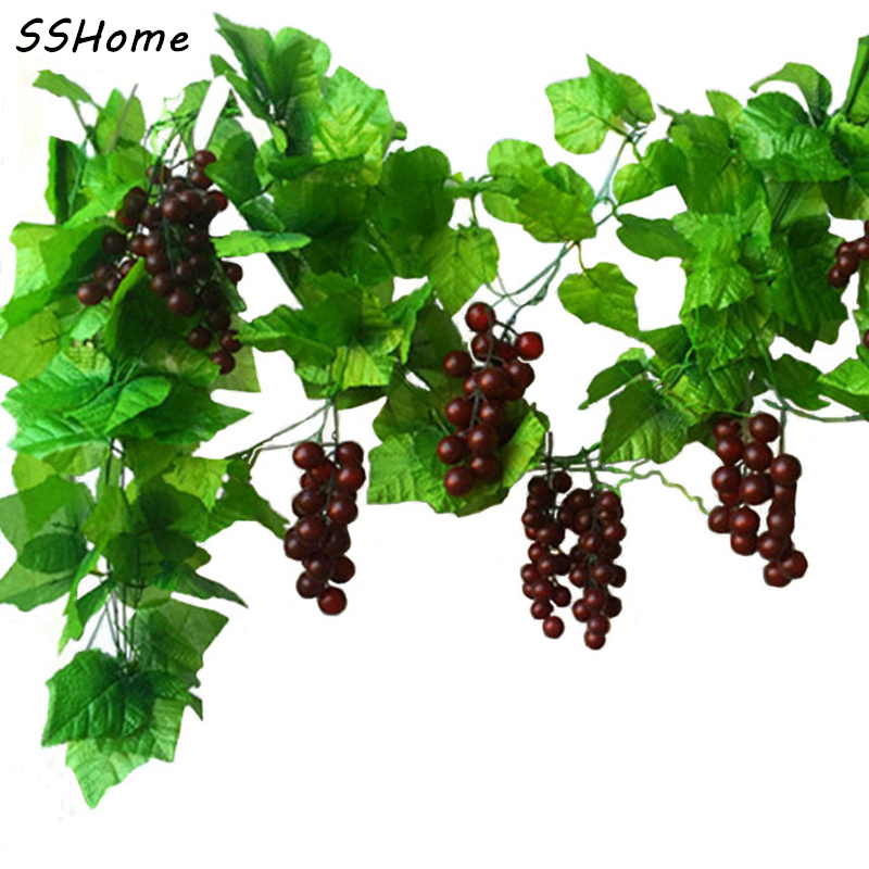 10x length artificial grape vine simulation plants for Artificial grape vines decoration