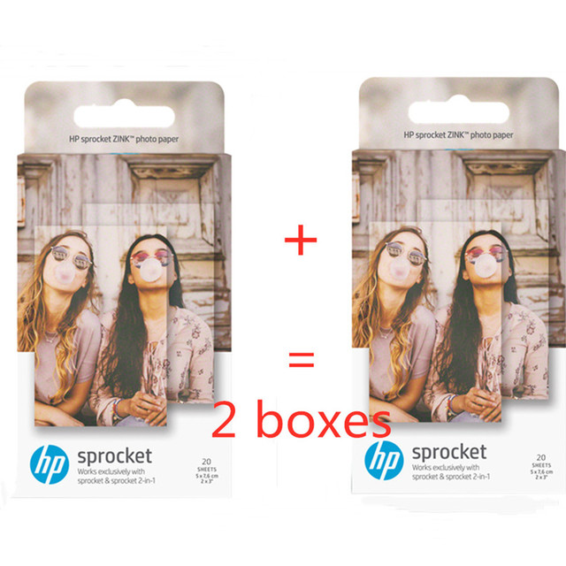 ورق رسم الصور الأصلي HP sprinket100 200 ورق طباعة الطابعة 5x7.6 سنتيمتر (2x3 بوصة) HP zink لصق ورق الصور 20 /40 ورقة