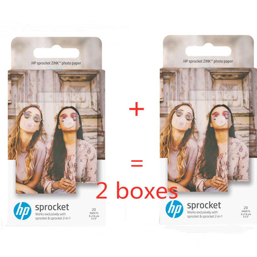 Original Photographic Paper HP Sprinket100 200 Printer Printing Paper 5x7.6cm(2x3 Inches)HP Zink Paste Photo Papers 20 /40 Sheet