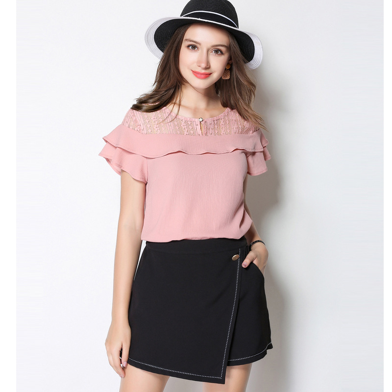2018 Summer Lace Ruffle Chiffon Plus Size 5XL Korean Pink Elegant Vintage Hollow New Arrival Cotton Women Blouse Casual Top