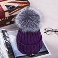15 см норки и лисий мех мяч cap пом кислоты соль в зимней шапке между девушки шерсть шляпа вязание женщины без новых шляпа