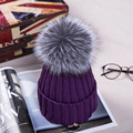 15 cm mink and fox fur ball cap pom acid salt in winter cap between girl wool hat knitting women without new hat