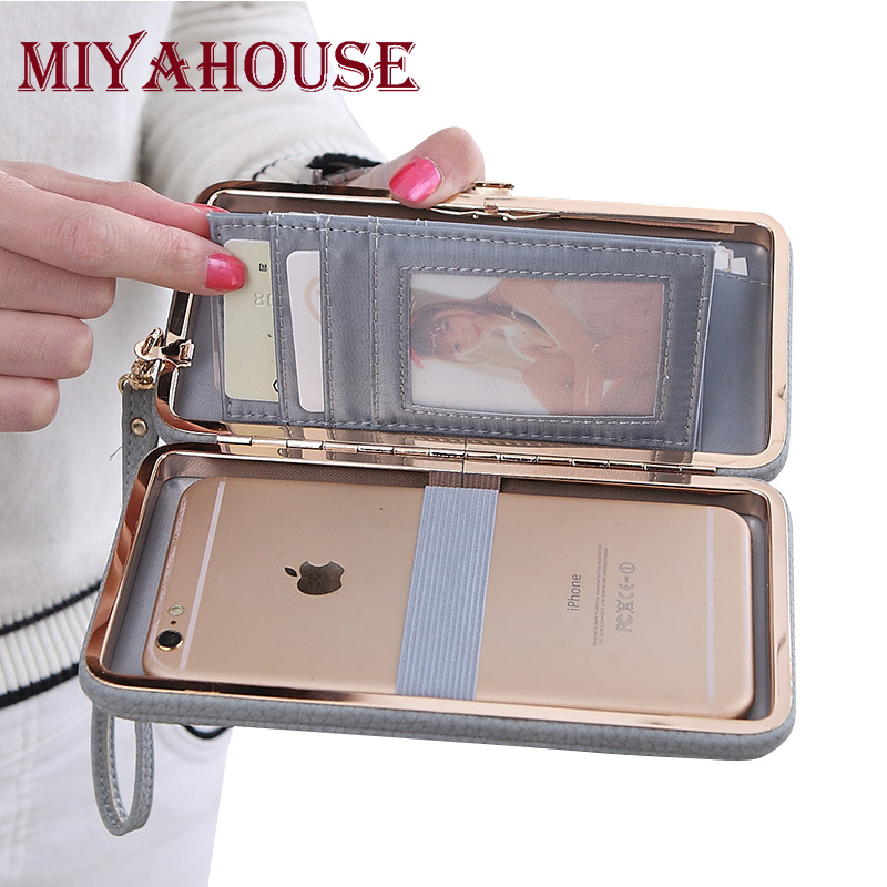 Miyahouse Bow Wallet Women Long Purse Hasp Design Female Cell Phone Wallets PU Leather Card Holder Purse For Ladies Clutches