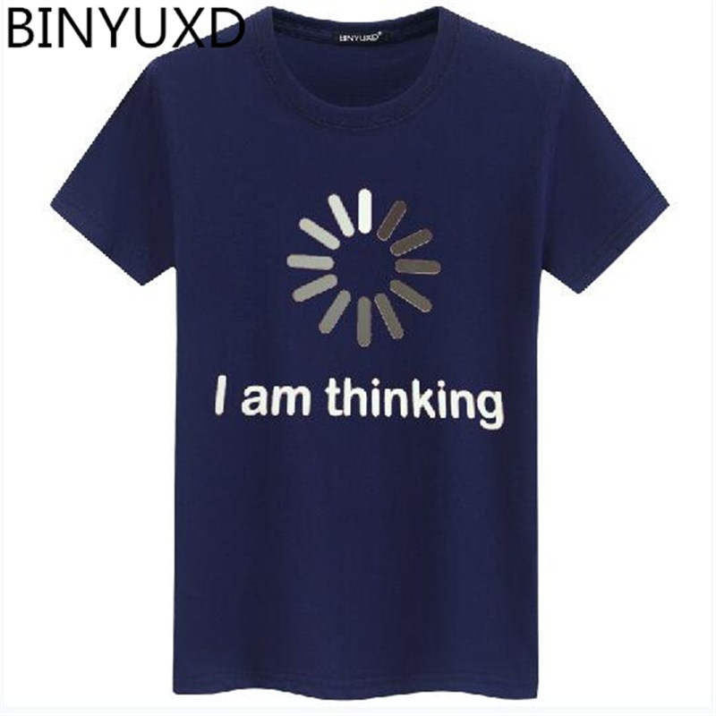 binyuxd I'm thinking Men's t Shirts Summer Brand Casual O-Neck short sleeve T-shirt mens funny printing Tee Shirts Men's plus