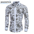 Brand New Autumn Men Shirts Clothes Slim Fit Men Long Sleeve Shirt Printed Fashion Men Shirt Cotton Social Casual Men Clothing