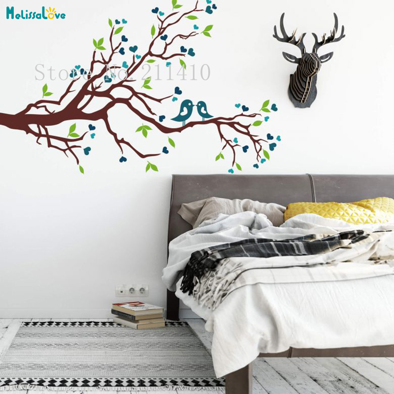 61a79c7eaa4 Tree Wall Sticker Vinyl Loving Sparrows Decals Home Decor For Living Room  Bedroom Self-adhesive Unique Nursery Art Murals YT556
