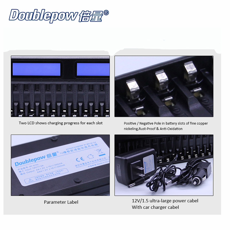 16 Slots Doublepow DP-K106 2-LCD Inner IC Protection intelligent Rapid charger + 16pcs 1.2V 2700mA Ni-MH rechargeable batterie