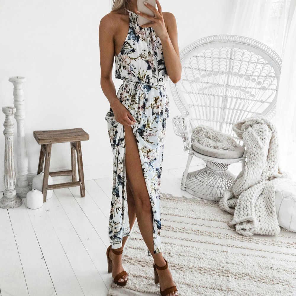 Vestidos デ · verano に 2019 ファッション女性プリント自由奔放に生きる花マキシドレスノースリーブイブニングパーティー夏ビーチサンドレスローブ W619