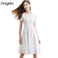 ONLY PLUS White Lace Dress Party Cute Women Short Sleeve Elegant Knee Length Dresses S XXL