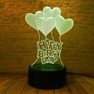 Image 5 - Novo feliz aniversário amor coração balões 3d visual led rgb noite lâmpada de mesa ilusão humor escurecimento 7 cores incrível