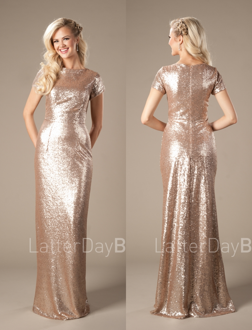 Gold Sequins Long Modest   Bridesmaid     Dresses   2019 With Sleeves Sheath Formal Women Evening Wedding Party   Dresses   Custom Made