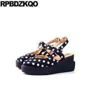 shallow summer satin black polka dot muffin luxury women elevator creepers platform shoes slingback square toe thick sole wedge