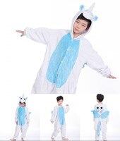 Winter Children Funny Animal Pajamas Kigurumi Kids Onesies Sleepwear Baby Boys Girls Stitch Anime Dinosaur Flannel