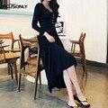 Тонкий Эластичный Длинные Dress Женщины 2017 Новая Коллекция Весна Повседневная Плюс Размер 3XL 4XL О-Образным Вырезом Fit Flare С Длинным Рукавом Dress Vestidos Черный QYL08