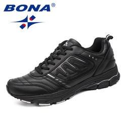 BONA новый стиль для мужчин кроссовки Ourdoor бег обувь Трекинговые кроссовки кружево до удобная спортивная обувь легкие мягкие Бесплатная