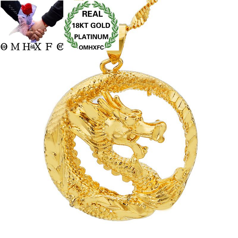 OMHXFC Wholesale European Fashion Woman Man Unisex Party Birthday Wedding Gift Round Dragon 18KT Real Gold Charm Pendant PN05